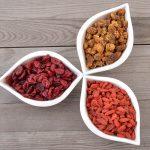 moerbeien cranberries goji-bessen