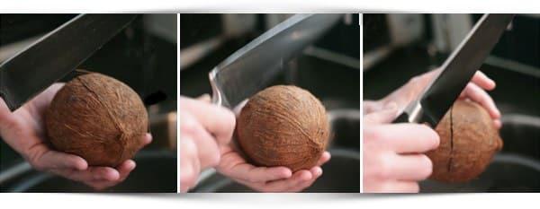 kokosnoot openhakken met een mes
